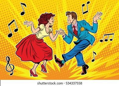 couple man and woman dancing, vintage dance, pop art retro comic book illustration