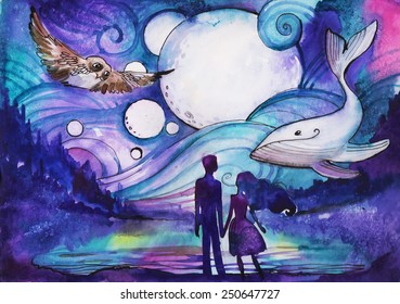 Couple on the beach. Mystical watercolor illustration