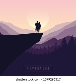 couple on a cliff adventure in nature with purple mountain view illustration