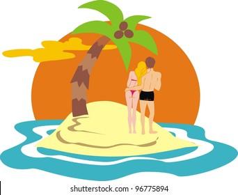 couple on desert island