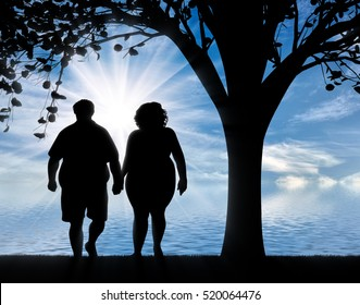 Couple with overweight standing near sea under tree. Overweight concept