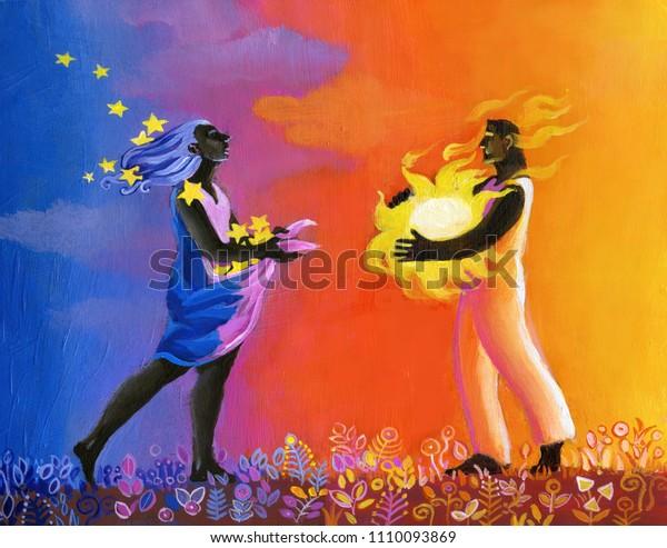un par de personas enamoradas, de fondo una colorida puesta de sol, trae en el brazo un sol, ella trae cosechas en traje las estrellas la relación entre los opuestos al sol como arquetipos de masculino y femenino