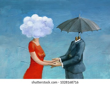 couple in profile, she has a cloud instead of the head, he an umbrella, relationship between opposites archetypes of masculine and feminine