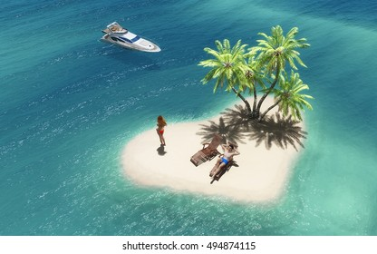 Couple relaxing on a tropical island shaped as a heart and an yacht anchored. This is a 3d render illustration
