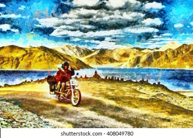 Couple riding on motorcycle among mountains and lake oil painting