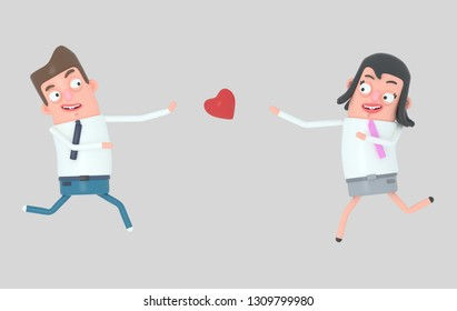 Couple running toward the real love. Isolate. 3d illustration