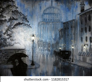 A couple shelters under an umbrella on a rainy night in old London.  Horse and carriage parked nearby on the rainy street.  Domed building in background.