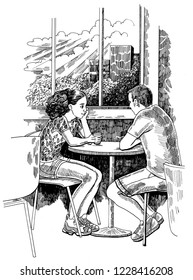 A couple is sitting in a cafe, people are talking. Illustration for a book or magazine, ink / pen.