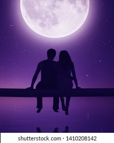 Couple sitting on wooden fence against the moonlight,3d rendering