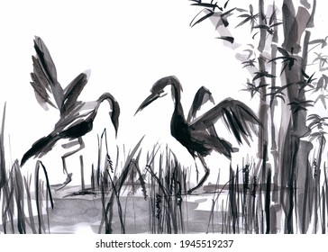Couple of storks in a pond with water and bamboo - black and white wash ink illustration
