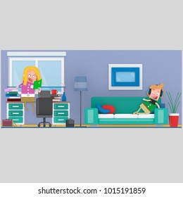 Couple in study room. 3d illustration