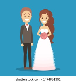 Couple wedding. Bride with bouquet and groom. Romantic people and white dress for ceremony. Isolated flat illustration