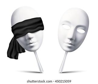 Couple of white raster blindfolded masks for mafia game