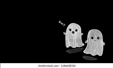 Couple of white sheet ghost with doll's eyes isolated on a black background, Illustration depicting ghost floating above the ground, ghost cartoon, Illustration white ghosts for Halloween