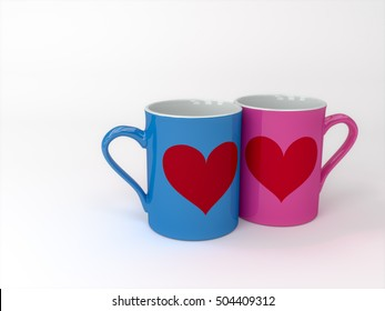 Couples' Mugs,Love couple coffee cups,3DCG,3D rendering.