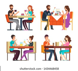 Couples table. Man, woman having coffee and dinner. Conversation between guys in restaurant. cartoon characters in romantic date. Illustration of romantic meeting in restaurant, man and woman