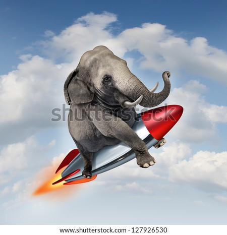 Courage and determination as a possibilities concept of a realistic elephant flying in the air on a rocket as a business symbol of achievement and belief in abilities to succeed in upward growth.