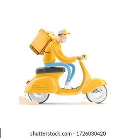 The courier in medical mask and yellow uniform is in a hurry to deliver the order on a motor bike. 3d illustration. Cartoon character. Safe delivery concept.