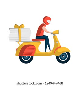 Courier with pizza boxes on motorbike. Fast food online order and express delivery to door service illustration