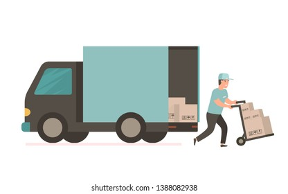 Courier provides free delivery of goods or postal parcels to the address. Man with cardboard boxes. illustration in flat style. Delivery service van