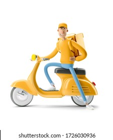The courier in yellow uniform sits on a vintage motor bike. 3d illustration. Cartoon character. Express delivery concept.