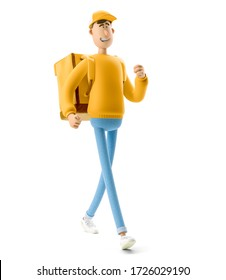 The courier in yellow uniform is walking slowly. 3d illustration. Cartoon character. Express delivery concept.