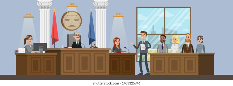 Court building interior with courtroom. Trial process. Lawyer or attorney giving a speech to a judge.  flat illustration