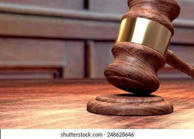 Court case trial illustration with judge hammer and space for text
