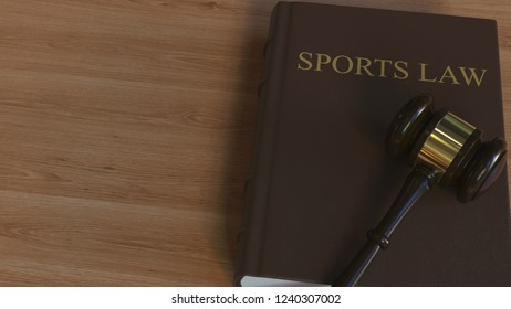 Court gavel on SPORTS LAW book. Conceptual 3D rendering