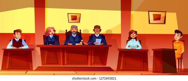 Court hearing illustration of courtroom interior background. Judges, prosecutor or advocate man, legal secretary woman and accused or defendant sitting at judge table