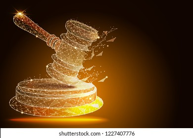 Court, judgment, bid, auction concepts. Judge gavel, auction hammer. abstract design in the form of outer space and constellations. isolated from low poly wireframe,polygonal image.  illustration