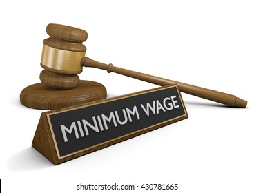 Court law concept for raising the minimum wage, 3D rendering