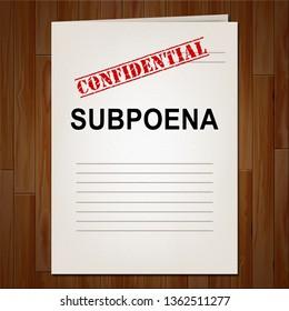 Court Subpoena Report Represents Legal Duces Tecum Writ Of Summons 3d Illustration. Judicial Document To Summon A Witness