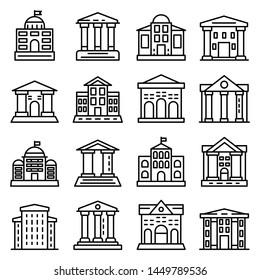 Courthouse icons set. Outline set of courthouse icons for web design isolated on white background