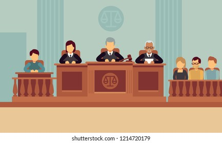 Courtroom interior with judges and lawyer. Justice and law concept