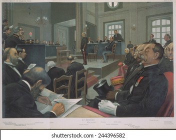 Courtroom scene of the espionage trail of Captain Alfred Dreyfus at Rennes in 1899. Uniformed Dreyfus stand in the center background with artists and journalists in the left foreground.