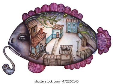The courtyard inside the fish is an allegory about childhood memories