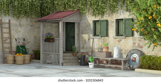 Courtyard of an retro house with gardening tools - 3d rendering