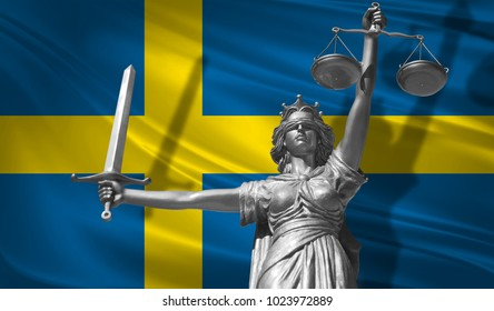 Cover about Law. Statue of god of justice Themis with Flag of Sweden background. Original Statue of Justice. Femida, with scale, symbol of justice with Sweden flag, 3d rendering.
