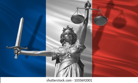 Cover about Law. Statue of god of justice Themis with Flag of France background. Original Statue of Justice. Femida, with scale, symbol of justice with France flag,3d rendering.
