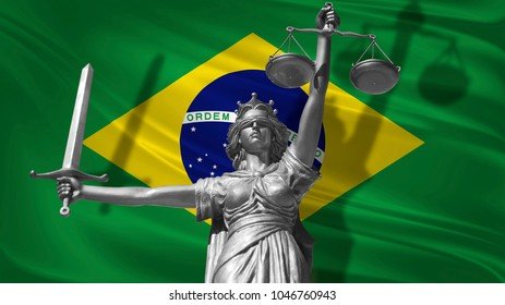 Cover about Law. Statue of god of justice Themis with Flag of Brazil background. Original Statue of Justice. Femida, with scale, symbol of justice with Brazil flag, 3d rendering.