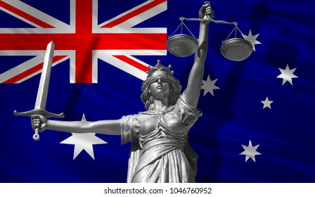 Cover about Law. Statue of god of justice Themis with Flag of Australia background. Original Statue of Justice. Femida, with scale, symbol of justice with Australia flag, 3d rendering.