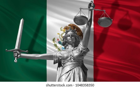 Cover about Law. Statue of god of justice Themis with Flag of Mexico background. Original Statue of Justice. Femida, with scale, symbol of justice with Mexico flag, 3d rendering.