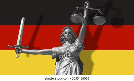 Cover about Law. Statue of god of justice Themis with Flag of Germany background. Original Statue of Justice. Femida, with scale, symbol of justice with Germany flag, 3d rendering.