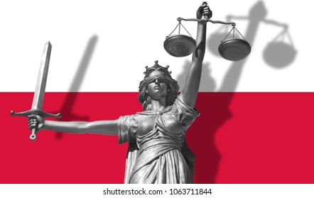 Cover about Law. Statue of god of justice Themis with Flag of Poland background. Original Statue of Justice. Femida, with scale, symbol of justice with Poland flag 3d rendering.