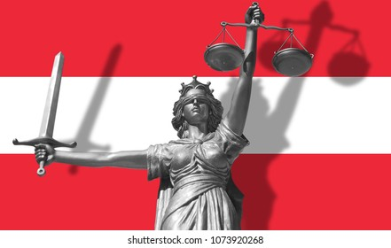 Cover about Law. Statue of god of justice Themis with Flag of Austria background. Original Statue of Justice. Femida, with scale, symbol of justice with Austria flag,3d rendering.