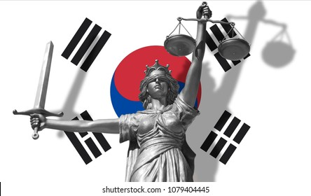 Cover about Law. Statue of god of justice Themis with Flag of South Korea background. Original Statue of Justice. Femida, with scale, symbol of justice with South Korea flag, 3d rendering.