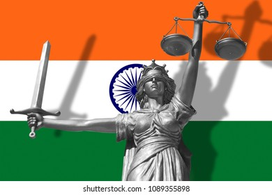 Cover about Law. Statue of god of justice Themis with Flag of India background. Original Statue of Justice. Femida, with scale, symbol of justice with India flag, 3d rendering.