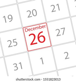 Cover calendar, December 26, icon illustration isolated  sign symbol, Appointment date, Sale promotion.