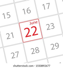 Cover calendar, June 22, icon illustration isolated  sign symbol, Appointment date, Sale promotion.